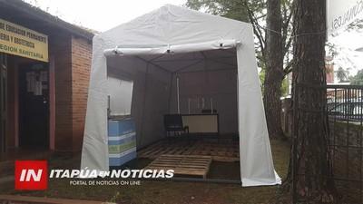 INSTALAN CARPA Y LAVATORIOS PARA VACUNATORIO EN EL HRE