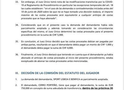 FIFA emplaza a Cerro a pagar 1,3 millones de euros al Benfica