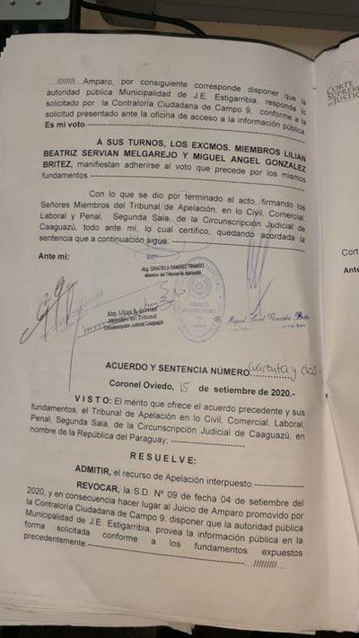 Revocan sentencia de primera instancia y obligan a la Municipalidad a entregar informe