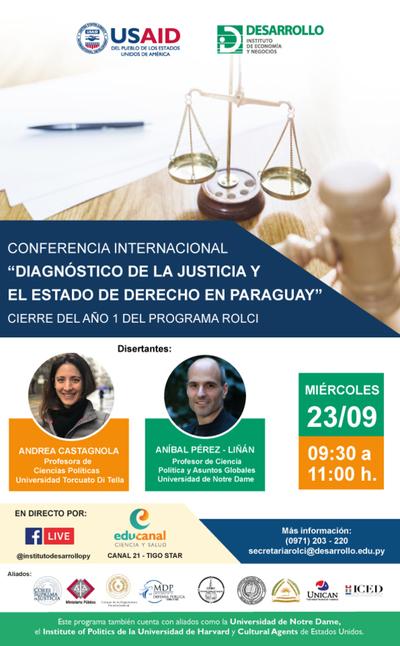 Expertos internacionales presentarán evaluación del sistema de justicia de Paraguay en conferencia
