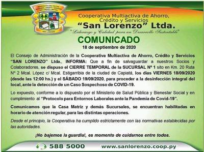 Sucursal de Cooperativa San Lorenzo cerrada por hoy y mañana sábado a causa de caso sospechoso de covid-19