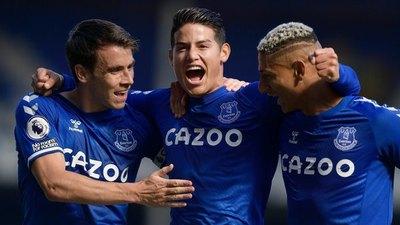 Everton goleó y James Rodríguez tuvo su estreno goleador