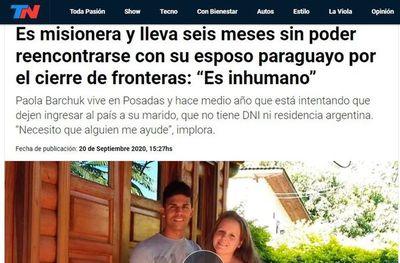 Paraguayo no puede reencontrarse con su esposa en Argentina por cierre de frontera