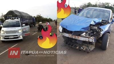 DOS MOTOCICLISTAS LESIONADOS EN ACCIDENTE SOBRE RUTA 8 EN CNEL  BOGADO