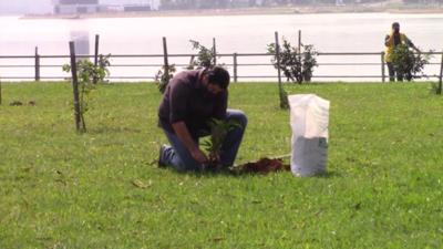 Arborizan Costanera de Encarnación con más de 100 plantines donados por la EBY