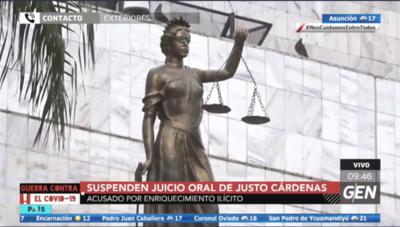 HOY / Fue suspendido el juicio oral y publico para el extitular del Indert, Justo Cárdenas