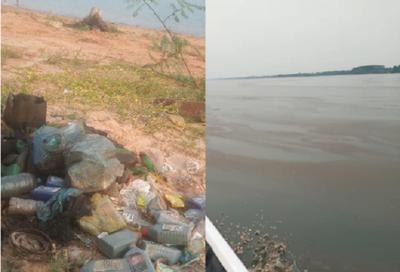 Preocupante contaminación de las aguas del lago Yguazú, en la zona de Tembiaporã