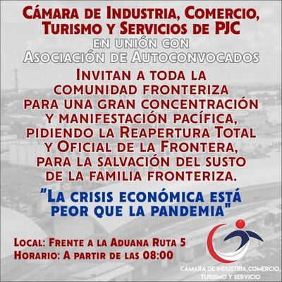 Se manifestarán por la apertura de la frontera en Pedro Juan Caballero