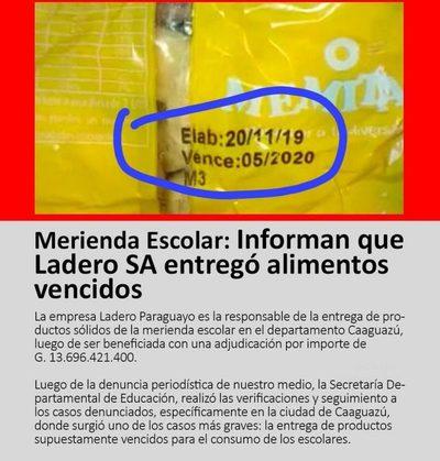 Meriendas y Almuerzos escolares sobrefacturados en el Departamento de Caaguazú.