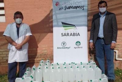 Tecnomyl donó 240 litros de alcohol al Hospital Distrital de Villeta