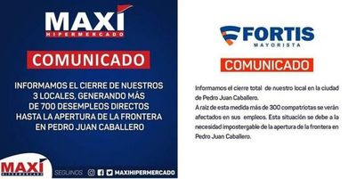 Los mayores comercios de Pedro Juan anunciaron el cierre de sus locales hasta la reapertura de la frontera; al menos  1.000 personas quedan sin empleo