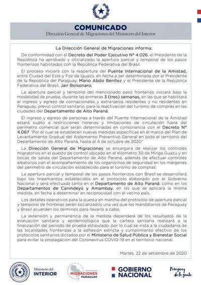 La Dirección General de Migraciones reiteró que los puestos fronterizos con el Brasil en  Amambay también se regirán por el sistema de apertura total