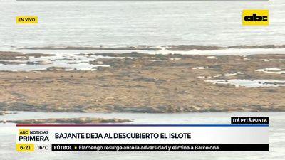 Bajante deja al descubierto un islote en Itá Pytã Punta
