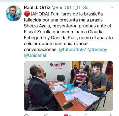 Familiares de la brasileña fallecida por presunta mala Praxis presentaron pruebas ante la fiscalía