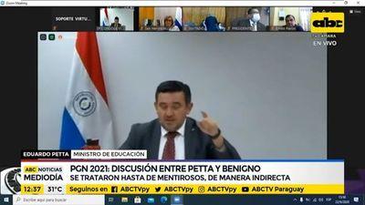 Discusión entre Petta y Benigno López por PGN 2021