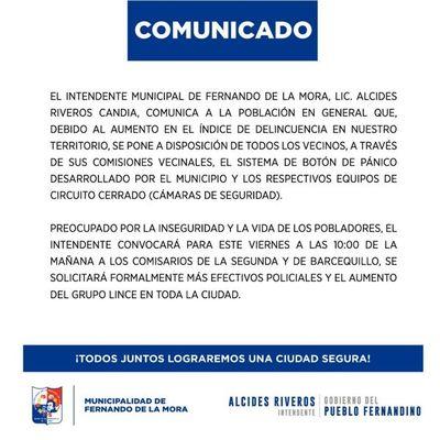 Fernando de la Mora implementa el botón de pánico ante aumento de ola de delincuencia
