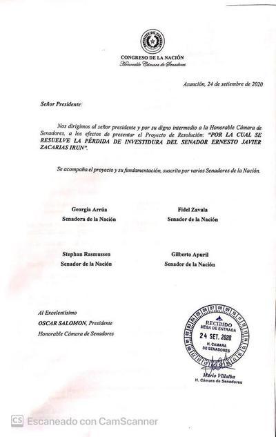 Piden pérdida de investidura de Zacarías Irún y exigen dictamen de Constitucionales