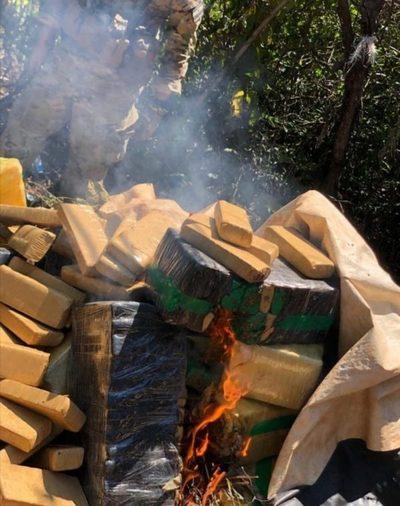 Canindeyú: Senad destruye más de una tonelada de droga