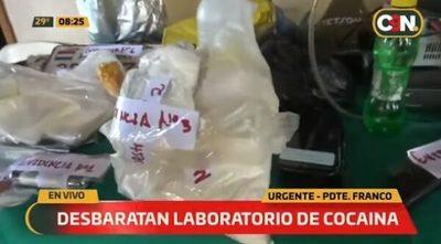 Senad desbarata laboratorio de cocaína en Presidente Franco