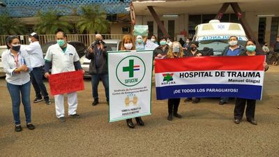 Funcionarios del Hospital del Trauma se manifiestan en rechazo de recorte presupuestario