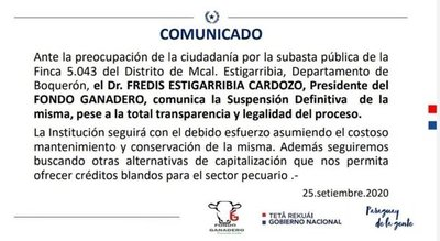 Suspenden definitivamente subasta de una importante fracción de Estancia La Patria, informó el Fondo Ganadero