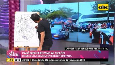 ¡Caló dibuja en vivo al Ciclón de Barrio Obrero!