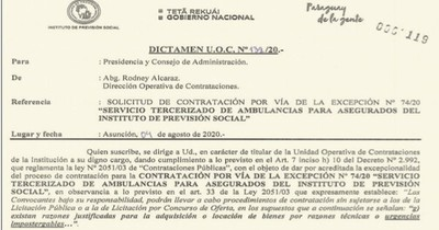 La Nación / IPS no justifica compra urgente y alquilará servicio de ambulancia