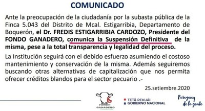 Suspenden de manera «definitiva» remate de estancia La Patria