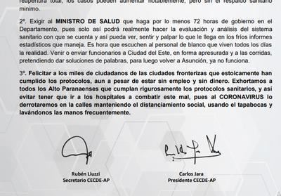 Cámara de Empresarios exige a Mazzoleni que venga al Alto Paraná
