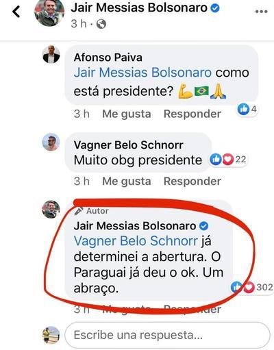 """Jair Bolsonaro: """"Ya determiné la apertura"""""""