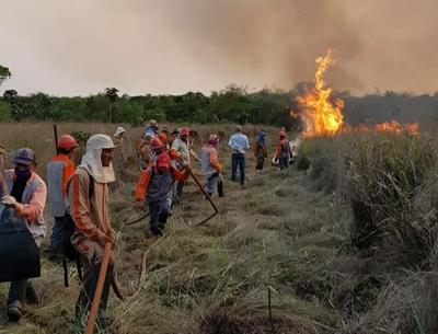 Intenso trabajo de bomberos y guardaparques de ITAIPU para controlar incendios forestales