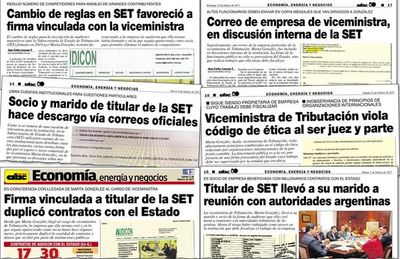 Publicaciones que molestaron a la exviceministra de la SET