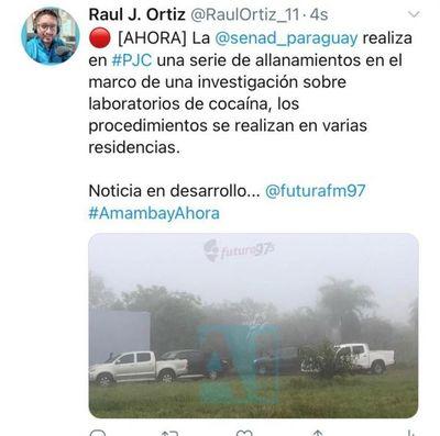 Desmantelan narcolaboratorio donde procesaban cocaína en Pedro Juan Caballeo