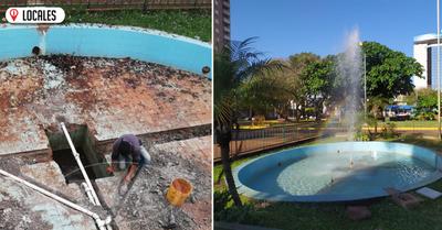 Reacondicionan fuente de agua de la Plaza de Armas de Encarnación