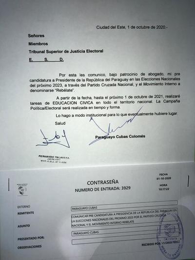 """Paraguayo Cubas informó al TSJE su pre-candidatura presidencial con movimiento interno """"Rebélate"""""""