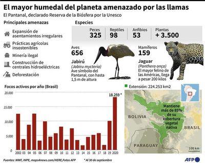 El fuego avanza en el Pantanal y la Amazonía