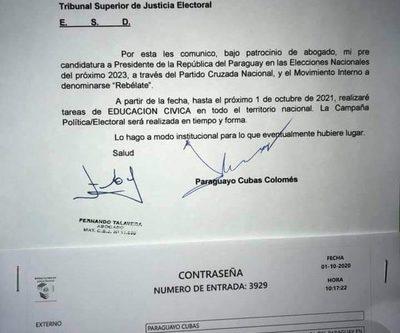 Payo Cubas comunica a la Justicia Electoral su inicio de campaña cívica como candidato – Diario TNPRESS