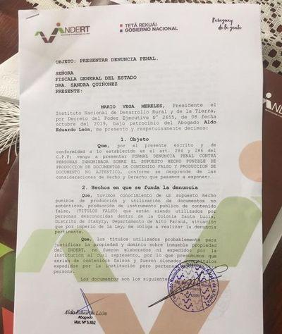 Denuncian falsificaciones de títulos de tierras del Indert por US$ 1 millón