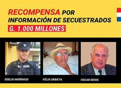 Recompensa a cambio de información sobre secuestrados