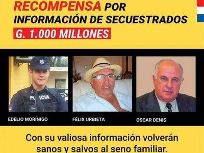 Gobierno ofrece recompensa por información de secuestrados