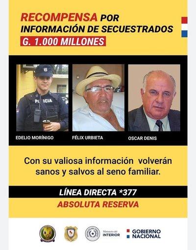 Recompensa de 1.000 millones por datos sobre secuestrados y 1.000 más por líderes de EPP