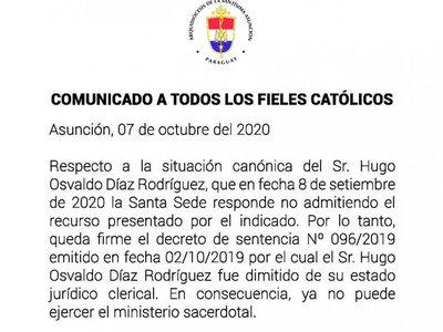 El Vaticano ratifica la expulsión de un pa'i