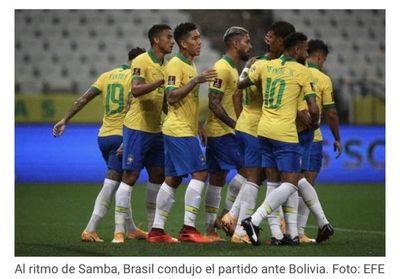 Brasil se luce y arrolla a Bolivia