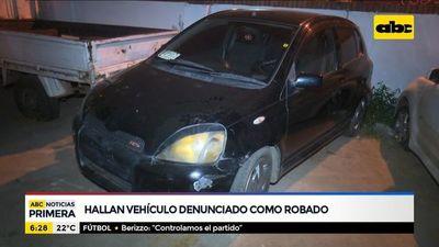 Hallan vehículo denunciado como robado