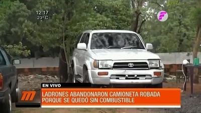 Robo de camioneta se frustra por falta de combustible
