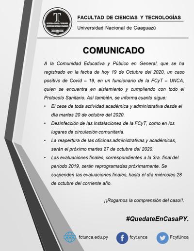 Coronel Oviedo; Informan caso positivo de Covid-19 en funcionario de la FCyT
