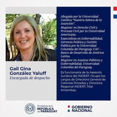 Poder Ejecutivo designa a Gail Gina González Yaluff como encargada de Despacho del Indert