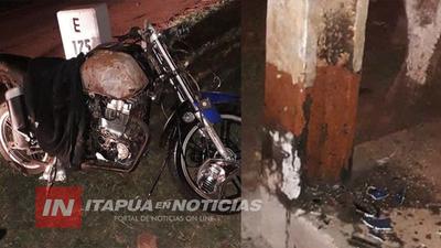 MOTOCICLISTA FALLECE TRAS IMPACTAR COLUMNA EN MARIA AUXILIADORA