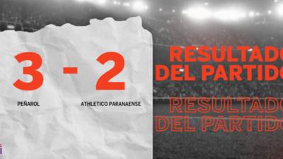 Con una mínima ventaja, Peñarol venció a Athletico Paranaense en un duelo lleno de goles