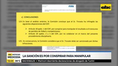 FIFA dio a conocer fundamentos de sanción a Trovato